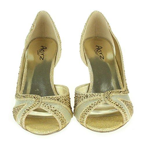 Femmes Dames Sparkly Diamante Soir Mariage Fête Bal de promo Peep Toe Milieu Talons Sandales Chaussures Taille Or