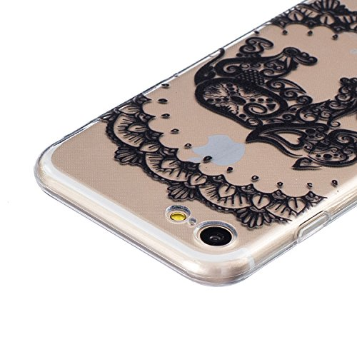 iPhone 7 Hülle,SainCat iPhone 7 Silikon Hülle Tasche Handyhülle Weiß Retro Muster [Elephant] Schutzhülle Transparent TPU Gel Case Bumper Weiche Crystal Kirstall Clear Silikonhülle Durchsichtig Handy G Schwarz-Elephant Muster