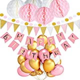 TopDeko Geburtstag Dekoration 6pcs Wabenbälle Große Geperlte Ballons, 9.8ft 30pcs Hängedeko Girlande Punkte, 1 Happy Birthday 1 Set Wimpel Banner (Rosa)