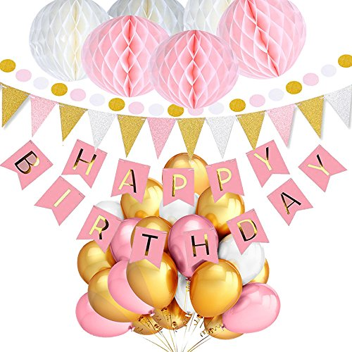 Geburtstag Dekoration Mädchen und Jungen, TopDeko Geburtstag Dekoration Rosa und Blau, Geburtstag Dekoration Set, mit 6pcs Wabenbälle, 30pcs Große Geperlte Ballons, 9.8ft 30pcs Hängedeko Girlande Punkte, 1 set Happy Birthday - X Brief Ballon