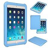 TECHGEAR Schutzhülle für Apple iPad Mini 1 2 3, [Kids Friendly] Leichtes Koffer Silikon Soft Shell Anti-Rutsch-Shockproof verstärkte Ecken + Displayschutzfolie. - Hellblau