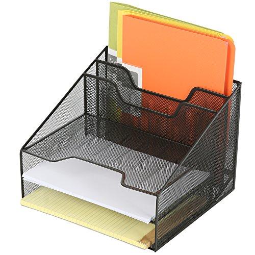 Deluxe Metall Mesh Desktop Dokument Halter mit 3Briefablage und 2Vertikal Datei Ordner Organizer, Schwarz (Desktop Datei-ordner-halter)