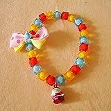 nbvmngjhjlkjl Candy Color Bead Christmas Bell Welpen Hunde Halsband Halskette Heimtierbedarf einstellbar niedlichen Charme Bling glänzend Hundehalsband - bunt