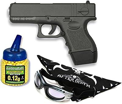 Pack Pistola airsoft Galaxy G16 negra. Calibre 6mm. Potencia 0,5 Julios + Gafas antivaho + Biberon 1000 bolas