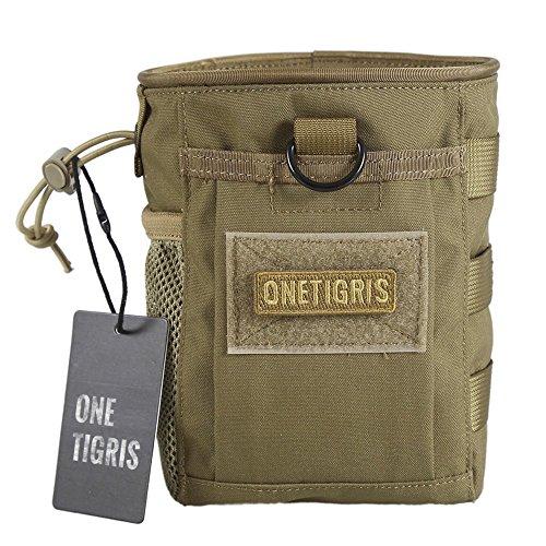 OneTigris MOLLE Beutel Dump Pouch Zusätzlicher Stauraum Rücksack Zusatztaschen EDC Tasche ((Braun-mit Klettverschluss)