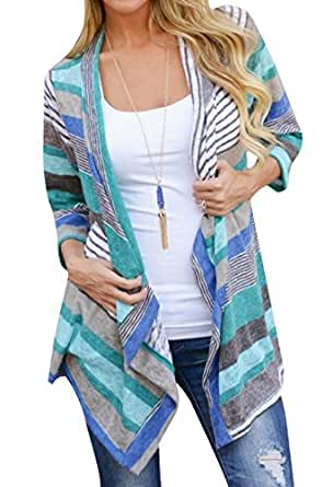 Landove Women Boho Kimono Patchwork Cardigan Thin Loose Floral Irregular Hanky Hem Stripe Outwear Casual 3/4 Sleeve Cover Up Tunic Tops Coat Cover Up Blouse