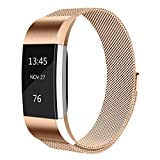 Tobfit Fitbit Charge 2 Straps Metal Straps Milanese Loop Stainless Steel Adjustable Replacement Wrist Strap for Fitbit Charge 2 (Rose Gold, Large)