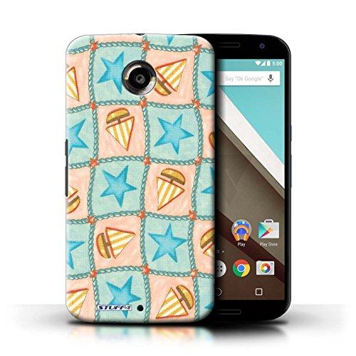 Kobalt® Imprimé Etui / Coque pour Motorola Nexus 6 / Violettes/Vertes conception / Série Bateaux étoiles Turquoise/Orange