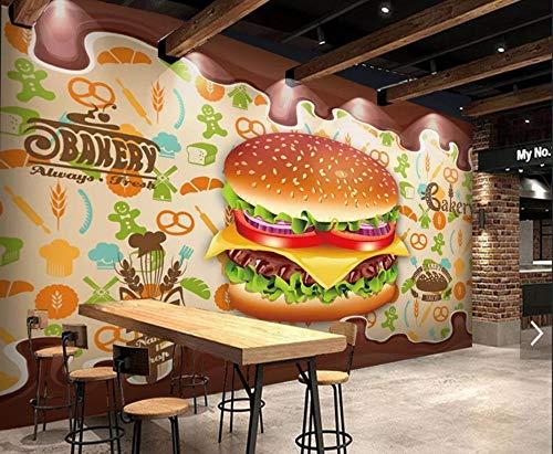 Kundenspezifische Tapete HD handgemalte Fast-Food-Burger Restaurant Catering Hintergrundbild @ 250 * 175cm - Fast-food-catering