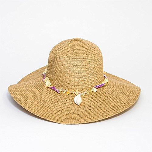 Chapeau aux bords tombants à paillettes été avec perles et coquillages Beige