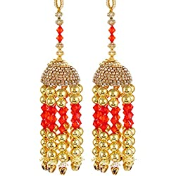 Mansiyaorange Traditional Wedding Wear Punabi Red kalere/Kaleera/Kalera/Bridal Hand Hanging/kaleera for Brides/Girls/Women(AAA AD Stone Premium Range)(5 Inch Long 1.5 Inch Wide)