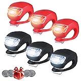 Whaggie Unisex Adult Silikon Leuchte Fahrradlampe, 6 Stück Fahrradlicht Set Weißlicht & 3X LED rotlicht Blinklicht Taschenlampe für Mountainbikes Camping und Täglichen Gebrauch, 6pack