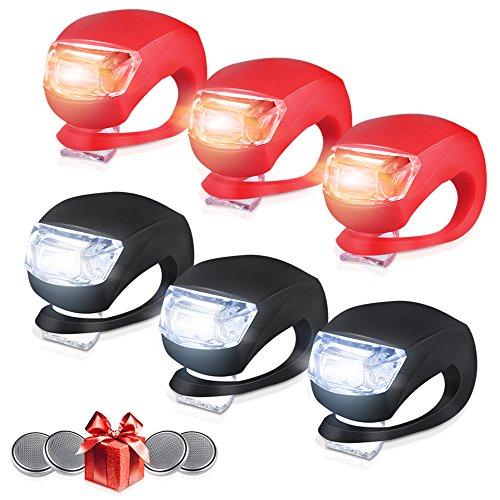 Whaggie Silikon Leuchte Fahrradlampe, 6 Stück LED Fahrradlicht Set (3x LED weißlicht & 3x LED rotlicht) Blinklicht Taschenlampe für Mountainbikes Camping und täglichen Gebrauch