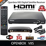 Bositools Openbox V8S Hd Digital Freesat Pvr Tv Satellite Receiver Box Satellite Set-top Boxes (Newer Version of V5S) FULL HD 1080P