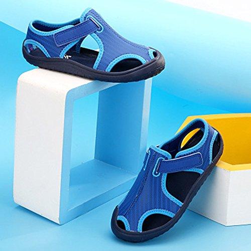 Geschlossene Sandalen Baby Mädchen Klettverschluss Lauflernschuhe Kinder Jungen Weiche Sommer Strandschuhe Blau1