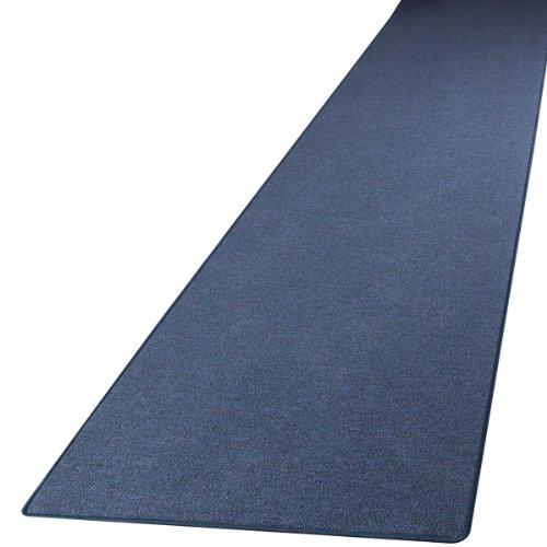 Schlingen Teppich Läufer Turbo Blau nach Maß - versandkostenfrei schadstoffgeprüft pflegeleicht antistatisch schmutzresistent robust strapazierfähig Flur Diele Eingang Wohnzimmer Küche , Größe Auswählen:80 x 250 cm