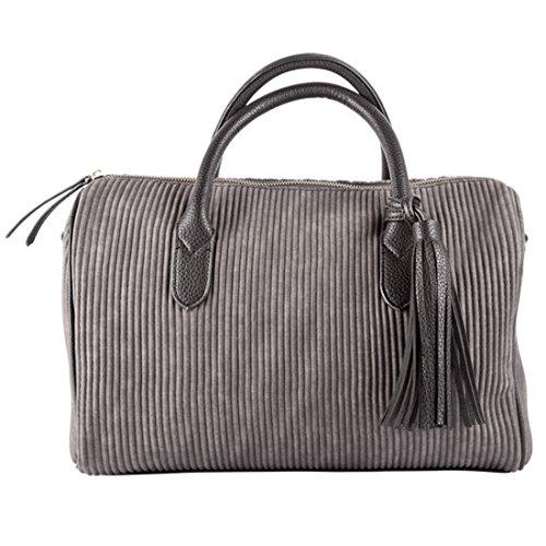 LALU' Damen Cecile Bowling-Tasche, Grau, 14x22x34 cm