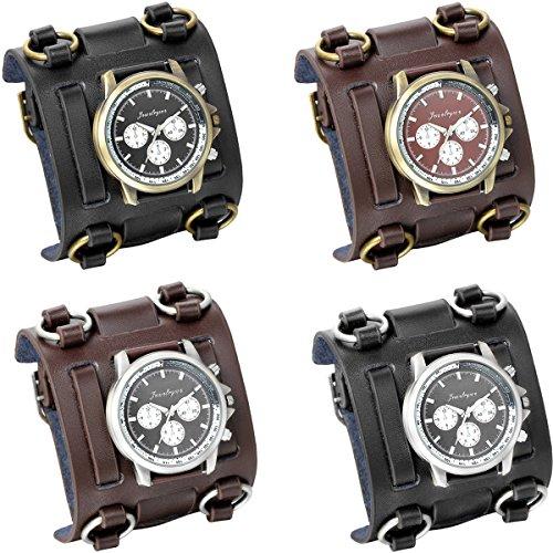 JewelryWe 4pcs estilo punk rock hip-hop pulsera de cuero reloj de 74 mm de ancho del puño relojes de hombre motorista