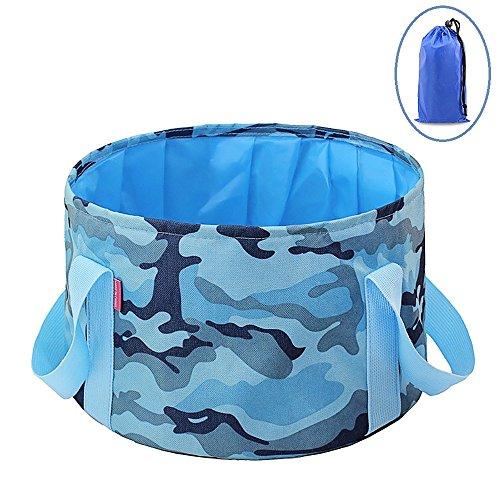 Bllomsem 15 Liter Outdoor Faltschüssel Eimer, Faltbare Camping Waschschüssel aus Langlebigem Oxford Stoff, Platzsparend und Leicht, Camouflage Blau