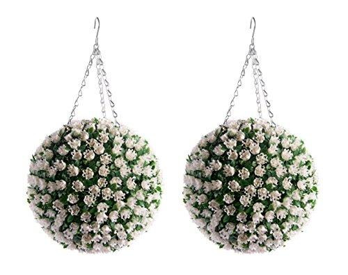2 Meilleur 28cm artificielle Blanc Ivoire Rose Fleur Balls