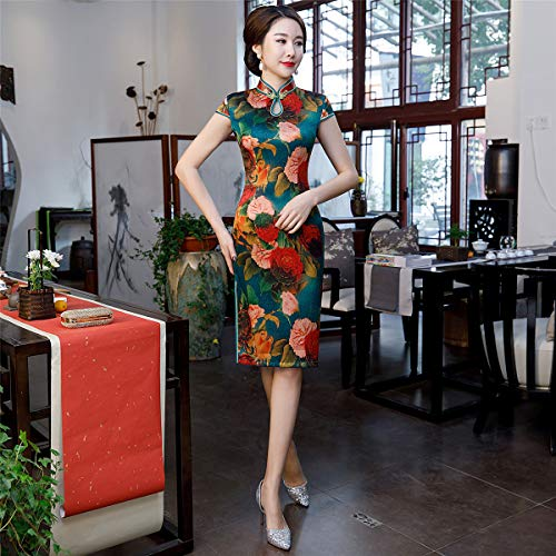 YAN Damendress Kimono Satin Frühling Herbst Big Peony Print Cheongsam Chinese Girl Cheongsam Dress Party Festival/Urlaub,Green,L