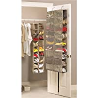 Large Heavy Duty 18 Pocket Hanging Shoe Organiser for the Wardrobe Rail or Over Door for up to 18 Pairs - Robust Oxford Canvas Type Beige Material (600D) with Ventilated Mesh Compartments - 34 x 138 x 30cm or 60 x 138 x 17cm - Shoe Storage Tidy Organizer by Brilliant Feet