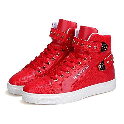Scarpe da Badminton scarpe sportive Scarpe da uomo High-top traspirante Vera pelle Usura antiscivolo red