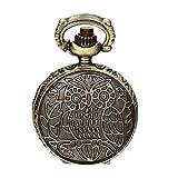 JewelryWe Gioielli Collana con Pendente da Uomo Donna Ragazzi Ciondolo Gufo Colore Bronzo Orologio da Tasca Classico