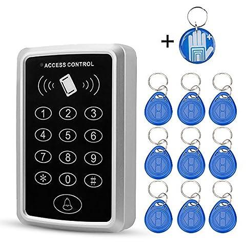 OBO HANDS RFID 125 KHz pour porte de contrôle d'accès Système 1000 utilisateurs RFID Keypad avec 10 pièces RFID Porte-clés (T11) Brand: OBO HANDS