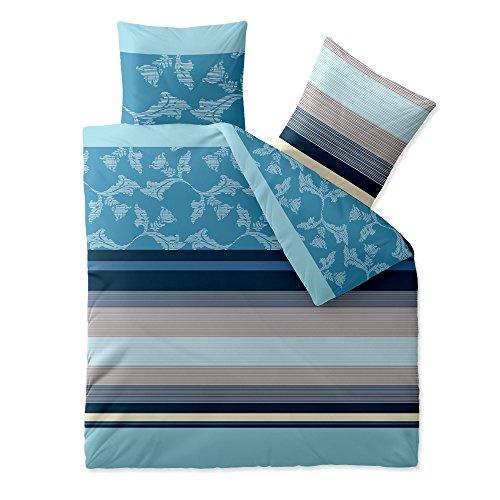 aqua-textil Bettwäsche 200x200 Baumwolle 3tlg Set Kissen Bettbezug Reißverschluß atmungsaktiv Garnitur 80x80 Kissen Öko-tex Streifen natur blau beige türkis 0011743 Trend Isabis (Beige Natur Streifen)