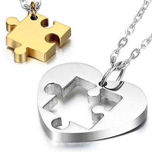 Cupimatch - Collares de acero inoxidable de 2piezas para parejas con dije de corazón y pieza de rompecabezas a juego, cadenas incluidas, color oro y plata