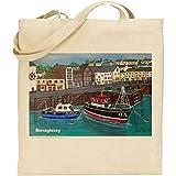 Jan Legard Landschaften | Mevagissey Harbour | Cornwall | wiederverwendbar | Umweltfreundlich | Baumwolle Tasche | ideal Geschenk | Fun