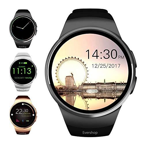 Evershop Bluetooth Smart Watch-1,5 Zoll IPS Round Touch Screen Smartwatch mit SIM-Karte und TF Card Slot mit Schlaf-Monitor, Pulsmesser für IOS und Android(Schwarz)
