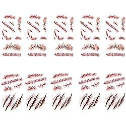 Heekpek® Halloween Zombie Cicatrices Tatuajes Pegatinas con Falso Scab Sangre Especial Fx Costume Maquillaje Props Tatuajes Temporales 10 hojas