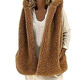 Damen Mode Weste Westen Soft Faux Fur Herbst Winter Warm Hoodie Outwear Weste Tops Casual Mantel Reißverschluss webpelz Jacke Darringls webpelzmantel