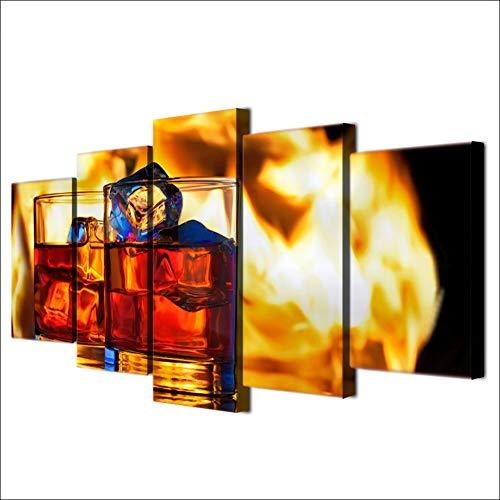 ZRTLAT 100×55cm Impresión en HD Moderno Lienzo Imagen de la Sala 5 Panel Copa de Coca Cola de Hielo Arte de la Pared Cartel Modular decoración del hogar Pintura