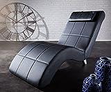 DELIFE Chaiselongue Lennox Schwarz 60x160 cm abgesteppt mit Nackenkissen Relaxliege