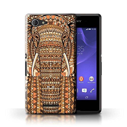 Kobalt® Imprimé Etui / Coque pour Sony Xperia E3 / Loup-Vert conception / Série Motif Animaux Aztec éléphant-Orange
