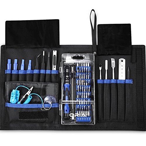 Oria set di cacciaviti magnetici di precisione(76 in 1), kit elettronico di riparazione per ipad, iphone 6,7,8,8 plus, tablet, laptop, palmari, pc, smartphone, orologi, occhiali e altri dispositivi elettronici con scatola portatile-blu