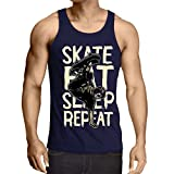 Photo de lepni.me Singlete Eat-Sleep-Skate-Repeat pour Les Amateurs de Skateboard, Les Cadeaux de Skateboard, Les Vêtements de Skateboard par lepni.me