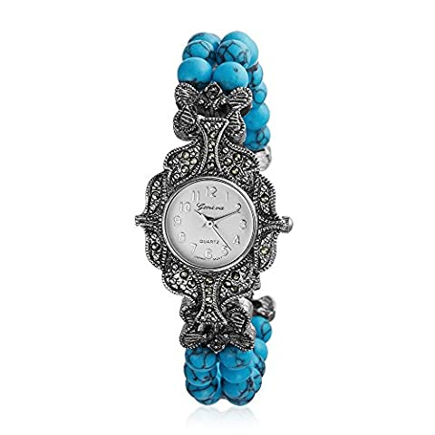 Bling Jewelry Silver Plated Reconstituted Turquoise Marcasite Watch