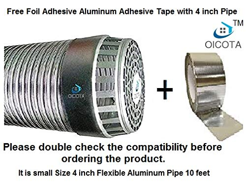 Oicota Aluminium Chimney Exhaust Duct Pipe with Cowl Cover and...