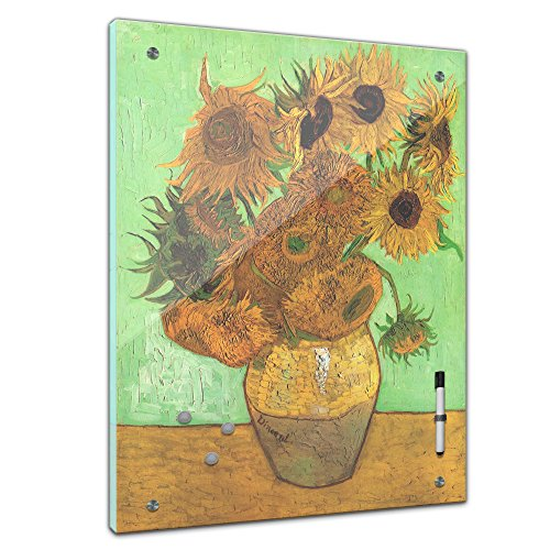Memoboard - 60 x 80cm , Alte Meister - Vincent van Gogh - Zwölf Sonnenblumen - Glasboard Glastafel Magnettafel Memotafel Pinnwand Schreibtafel - Postimpressionismus - Kunst - Kunstwerk - Meisterwerk - Klassiker - Gemälde - Kopie - Blumenbild - Blume - Sonnenblume - Vincent van Gogh bild - Kunstdruck auf Glas - Naturbild - Kunst - Klassiker - Dekoration - Art - Handmade - Bild auf Glas - Glasbild - Wohnzimmer - Esszimmer - Küche - Schlafzimmer