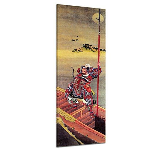Wandbild Katsushika Hokusai Krieger im Boot - 30x90cm hochkant - Alte Meister Berühmte Gemälde Leinwandbild Kunstdruck Bild auf Leinwand - Katsushika Hokusai