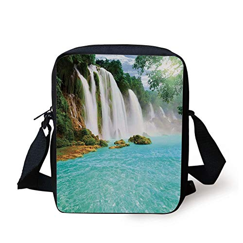 ZKHTO Waterfall,Ban Gioc Detian Cascade in the Forest Tropical Waterscape Clear Pool,Turquoise Green White Print Kids Crossbody Messenger Bag Purse