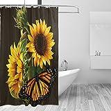 COOSUN Sonnenblume und Schmetterling Fotoprint Duschvorhang, Polyester-Gewebe Duschvorhang, 66 x 72-inch 66x72 Mehrfarbig