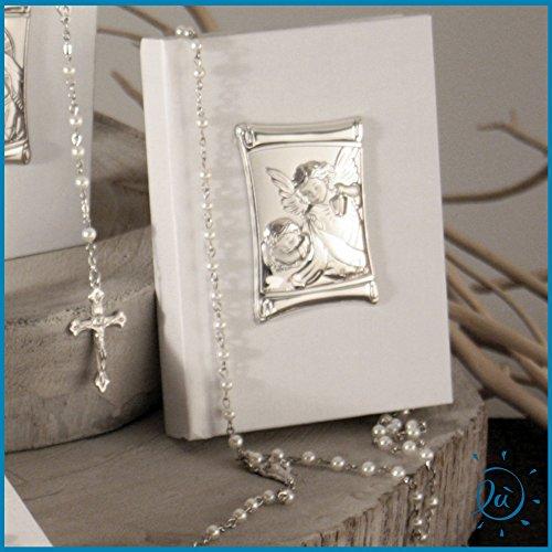 Albalù italia vangelo in ecopelle (10x14 cm) con collana rosario perle (50 cm) placca angeli lanterna in laminato (5x7 cm)
