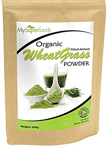 Organic Wheatgrass Powder (500g) | Highest Quality Available | Certified Organic by the Soil Association | By MySuperfoods