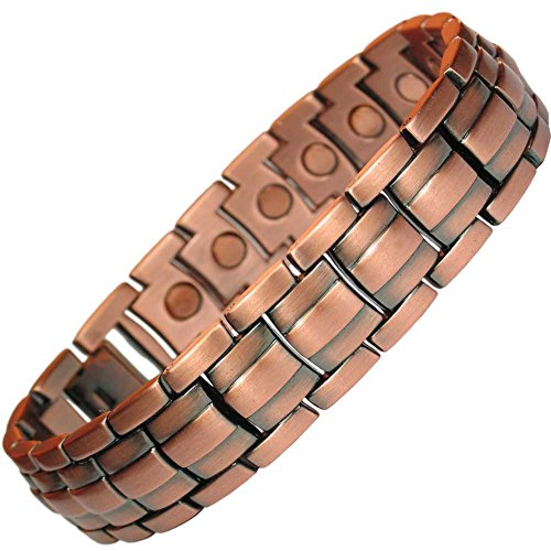 MPS® Mens Copper Rich Magnetic Therapy Bracelet with clasp and 3,000 gauss Neodymium Magnets + Free Links Removal Tool