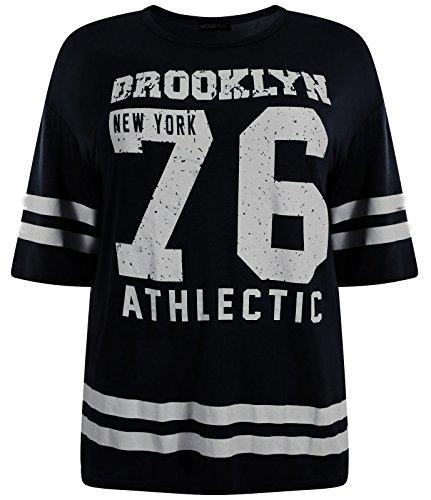 Chocolate Pickle ® Damen Übergrößen Sackartige Baseball Varsity T-Shirt Oberteile